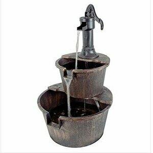 2 Tier Garden Barrel Pump Fountain Water