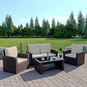 Abreo Brown Rattan Garden Furniture Sofa Set Brown Sofa Wicker Weave 4 Seater Patio Conservatory Luxury INCLUDES OUTDOOR WATERPROOF PROTECTIVE COVER