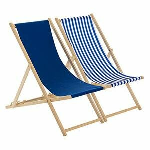 Harbour Housewares Adjustable Deck Chairs - Navy/Stripe