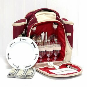 Burgundy & Cream picnic backpack