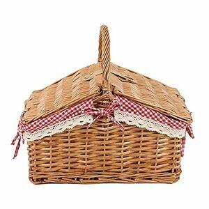 Handmade Wicker Picnic Basket Double Lidded Storage Basket