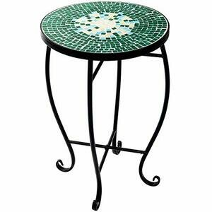 D4P Display4top Mosaic Round Outdoor Accent Table - 52 x 34.8cm (Green)