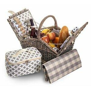 4 Person Traditional Picnic Wicker Hamper Willow Basket