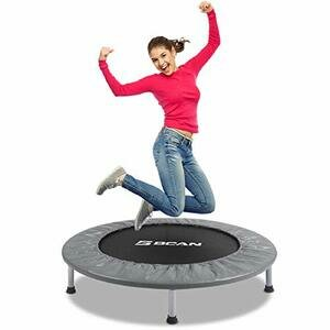 """BCAN 38"""" Foldable Mini Trampoline, Fitness Trampoline with Safety Pad (Grey)"""