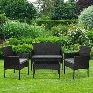 Olsen & Smith 4 Piece Rattan Effect Outdoor Garden Patio Furniture Set (Black Anthracite)