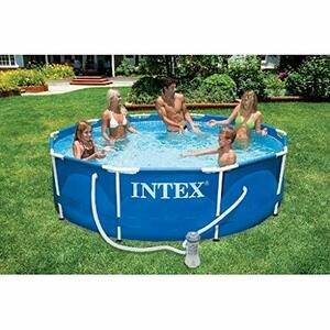 AK Sports 28202GN Intex 10ft x 30in Metal Frame Swimming Pool, Blue, 305 x 76 cm