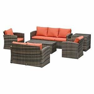 Outsunny 6 Piece Outdoor Rattan Wicker Sofa