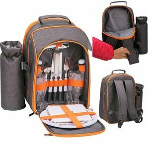 GEEZY Family Picnic Cool Bag Backpack Hamper with Wine Cooler for 2