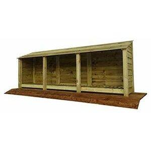 Arbor Garden Solutions Extra Large Wooden Log Store 4Ft (Light Green)
