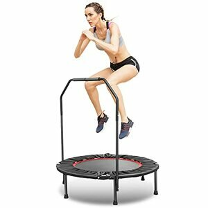 ANCHEER Foldable Rebounder Trampoline with Adjustable Handle (Red - Adjustable Legs)
