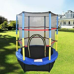 Greenbay 55inch 4.5FT Kid  Trampoline Set with Skirt and Safety Net Blue