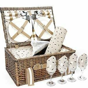 G GOOD GAIN Willow Picnic Basket Set for 4