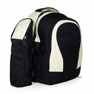 4 Person Black & Cream Picnic Rucksack with Accessories