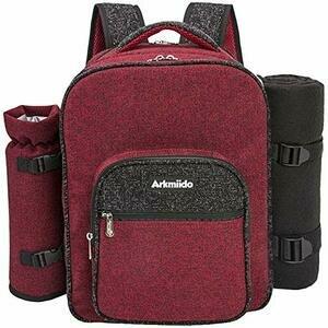 Arkmiido Picnic Backpack Hamper for 4 (Red)