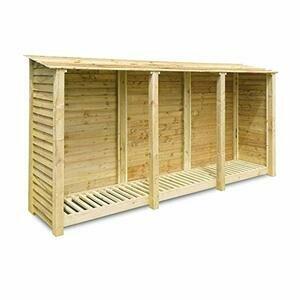 Rutland County Garden Furniture Empingham 6ft Tall Log Store/Garden Storage (Light Green)