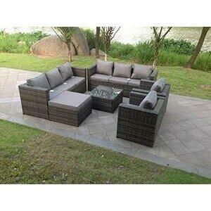 9 Seater Grey Rattan Sofa Set, Coffee Table & Footstool