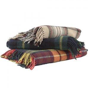 Antique Camel Stewart Tartan Wool Picnic Rug