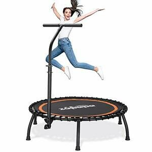 Zupapa Silent Mini Fitness Trampoline with Adjustable Handrail Bar
