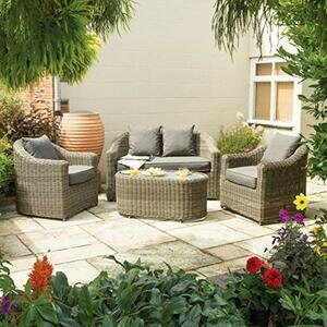 Rowlinson Bunbury 4-Seater Natural Weave Garden Sofa Set