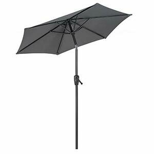 CHRISTOW Garden Parasol Umbrella 2m - Aluminium Pole, Grey, Cream