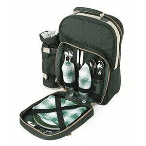 Greenfield Collection Picnic Backpack Hamper for Two People (Forest Green)