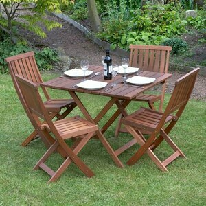 Outdoor Wooden Table and Chair Set for 4 people