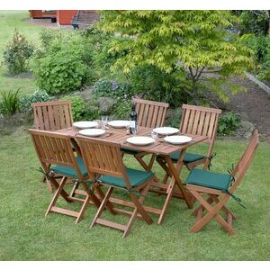 Outdoor Wooden Table & Chair Set for 6 People