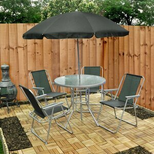 Garden Table, Chair & Umbrella Set - Six Piece