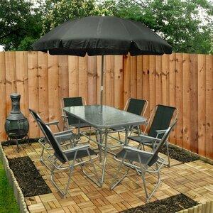 Garden Table, Chair & Umbrella Set - Eight Piece