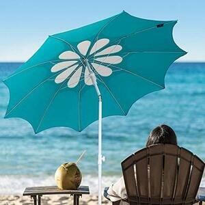 AMMSUN 7ft Beach Umbrella with Tilt Mechanism (White)