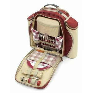 Greenfield Collection Mulberry Red Picnic Backpack for Two