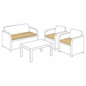 Replacement Seat Cushion 4 Piece Set for Keter Allibert Carolina Outdoor Patio Sofa Set - Stone