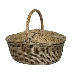 Red Hamper Wicker Willow Oval Picnic Basket (Antique Grey)