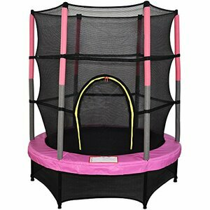 """Greenbay 4.5FT 55"""" Outdoor Junior Trampoline Set with Enclosure Safety Net (Pink)"""
