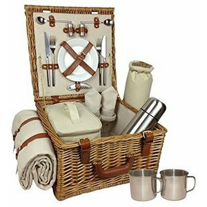 Red Hamper Wicker Willow 2 Person Traditional Picnic Basket