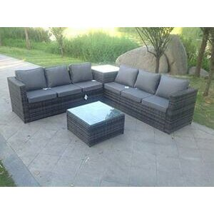 Fimous 6 Seater Grey Rattan Corner Sofa Set with 2 Tables