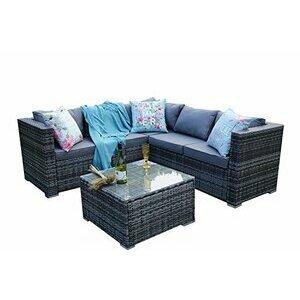 YAKOE 30 mm 5 Seater Classical Range Outdoor Rattan Garden Furniture Set (Grey)