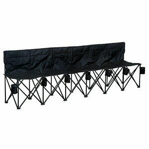 Outsunny Football 6 Seater Folding Sports Bench - Black
