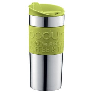 Bodum Vacuum Travel Mug, Stainless Steel with Lime Green Lid and Band