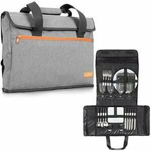 4 Person Picnic Hamper Briefcase Tote Bag Set