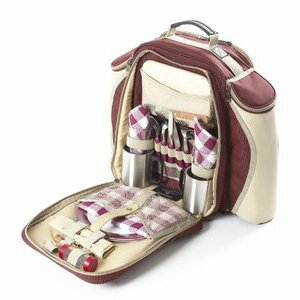 Greenfield Collection Mulberry Red Picnic Backpack for 2