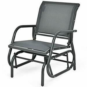 COSTWAY Garden Glider Chair (Grey)