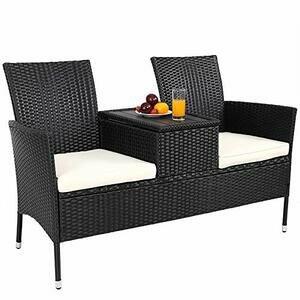 Casaria Garden Bench Poly Rattan Table Storage Box Incl. 7cm Cushions Garden Sofa Cinema Bench Garden Furniture 2 Seater