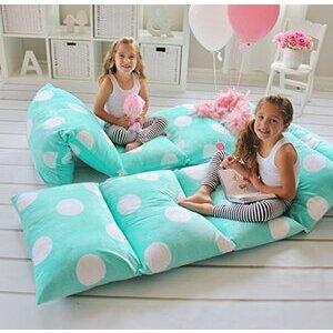 Butterfly Craze Pillow Bed Floor Lounger Cover - Aqua Polka Dot