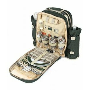 Greenfield Collection Forest Green Picnic Backpack for Four