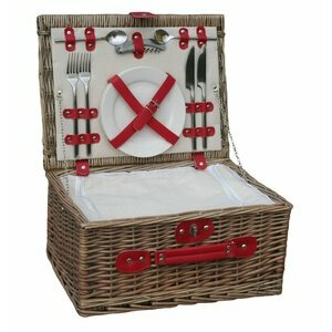 Retro Leather Wicker Picnic Basket for 2 people