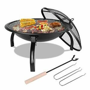 Femor Fire Bowl with Grill Grate & Protective Grille