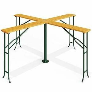 Deuba Folding Wooden Garden Table with Parasol