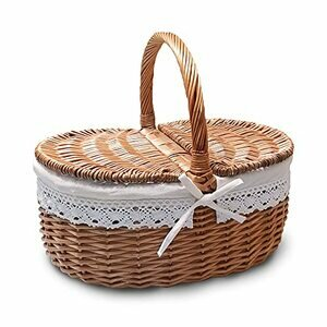 RURALITY Willow Picnic Storage Basket with Lid & Handle