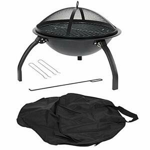 La Hacienda 58106 Camping Firebowl with Grill, Folding Legs and Carry Bag - Black